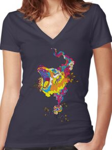 Psychedelic acid bear roar Women's Fitted V-Neck T-Shirt
