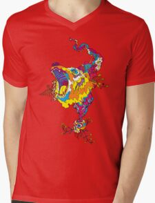 Psychedelic acid bear roar Mens V-Neck T-Shirt