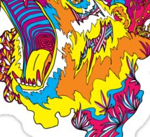 Psychedelic acid bear roar Sticker