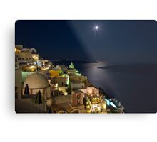 Santorini Fira Greek moonrise Metal Print