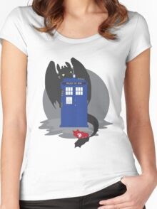 Toothless TARDIS Women's Fitted Scoop T-Shirt