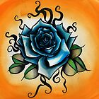 blue rose tattoo flash by resonanteye