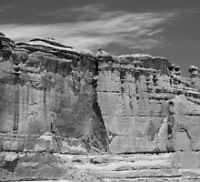 Courthouse Towers Arches National Park BW by marybedy