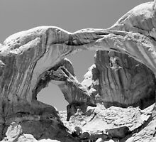 Double Arch Arches National Park BW by marybedy
