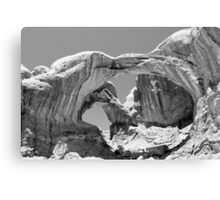 Double Arch Arches National Park BW Canvas Print