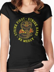 Cobra Kai - Strike First - Strike Hard - No Mercy - Distressed Variant 2 Women's Fitted Scoop T-Shirt