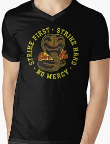 Cobra Kai - Strike First - Strike Hard - No Mercy - Distressed Variant 2 Mens V-Neck T-Shirt