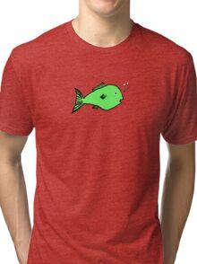 Green fish design Tri-blend T-Shirt