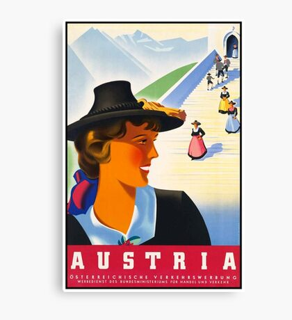 Vintage Austria Travel Poster Canvas Print