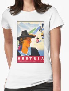 Vintage Austria Travel Poster Womens Fitted T-Shirt