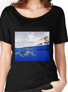 Oceanic White Tip Sharks Circle a Boat Women's Relaxed Fit T-Shirt