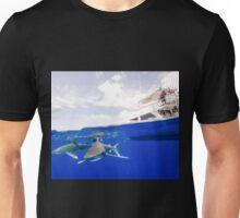 Oceanic White Tip Sharks Circle a Boat Unisex T-Shirt