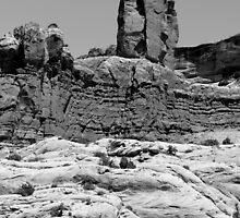 Rock Formations 2 Arches National Park BW by marybedy