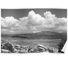 Salt Valley Overlook with La Sal Mountains BW Poster