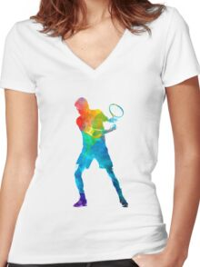 Man tennis player 02 in watercolor Women's Fitted V-Neck T-Shirt