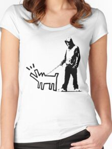 Banksy Walking The Dog Women's Fitted Scoop T-Shirt