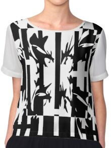 Black and white abstract design Chiffon Top