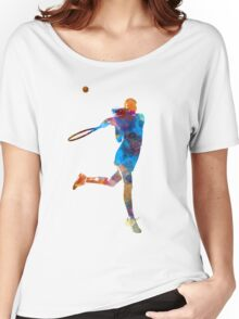 Woman tennis player 03 in watercolor Women's Relaxed Fit T-Shirt