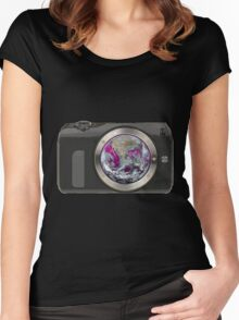 camera earth Women's Fitted Scoop T-Shirt