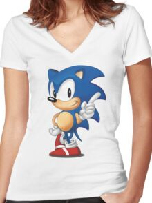 sonic the hedgehog Women's Fitted V-Neck T-Shirt