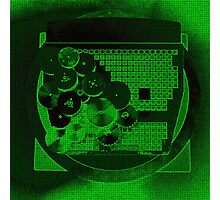 Green Neon Gear Abstract Photographic Print