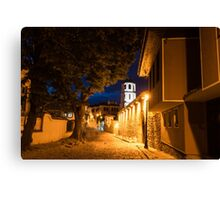 Of Cobblestone Streets and Bell Towers - Yellow Lit Night in Old Town Plovdiv, Bulgaria Canvas Print