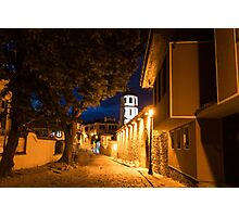Of Cobblestone Streets and Bell Towers - Yellow Lit Night in Old Town Plovdiv, Bulgaria Photographic Print