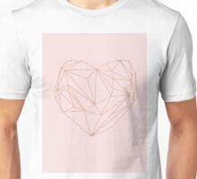 Rose gold geometric heart Unisex T-Shirt