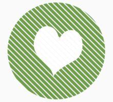 Striped heart Green   Kids Tee