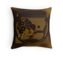 Brown Neon Gears Abstract Throw Pillow