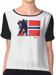 I Love Norge - Norway National Flag & Hockey Player Skjorte Chiffon Top