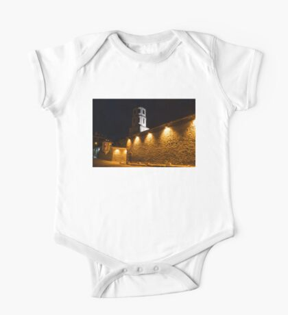 Of Stone Walls and Bell Towers - Yellow Lit Night in Old Town Plovdiv, Bulgaria One Piece - Short Sleeve