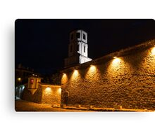 Of Stone Walls and Bell Towers - Yellow Lit Night in Old Town Plovdiv, Bulgaria Canvas Print