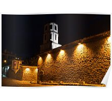 Of Stone Walls and Bell Towers - Yellow Lit Night in Old Town Plovdiv, Bulgaria Poster