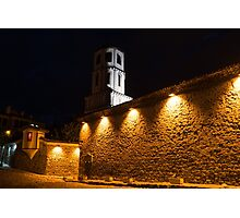 Of Stone Walls and Bell Towers - Yellow Lit Night in Old Town Plovdiv, Bulgaria Photographic Print