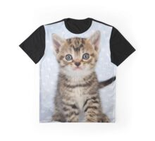 Cute Tabby kitten on a blue starry background Graphic T-Shirt