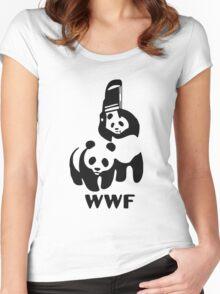 Panda Wrestling Meme Women's Fitted Scoop T-Shirt