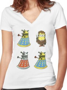 10th Minion Doctor and Daleks Women's Fitted V-Neck T-Shirt