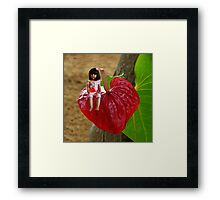 ANTHURIUM- HAWAIIN HEART FLOWER--LITTLE GIRL & WATERMELON A SUMMERS DELIGHT - PILLOW & TOTE BAG. Framed Print