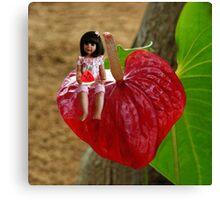 ANTHURIUM- HAWAIIN HEART FLOWER--LITTLE GIRL & WATERMELON A SUMMERS DELIGHT - PILLOW & TOTE BAG. Canvas Print