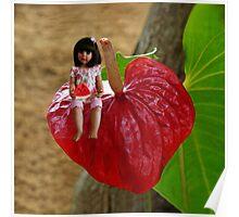 ANTHURIUM- HAWAIIN HEART FLOWER--LITTLE GIRL & WATERMELON A SUMMERS DELIGHT - PILLOW & TOTE BAG. Poster