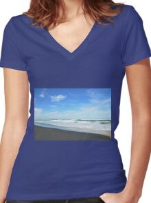 Shore Lines - Great Ocean Road Women's Fitted V-Neck T-Shirt
