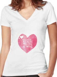 Jesus Loves You Women's Fitted V-Neck T-Shirt