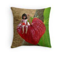 ANTHURIUM- HAWAIIN HEART FLOWER--LITTLE GIRL & WATERMELON A SUMMERS DELIGHT - PILLOW & TOTE BAG. Throw Pillow