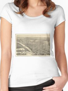 Vintage Pictorial Map of Wilkes-Barre PA (1889) Women's Fitted Scoop T-Shirt