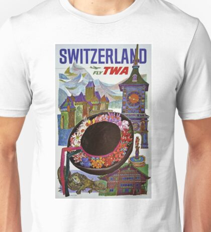 Vintage Switzerland Travel Poster Unisex T-Shirt