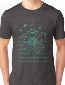 Ufo in dark night.  Unisex T-Shirt