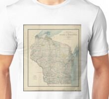 Vintage Map of Wisconsin (1895) Unisex T-Shirt