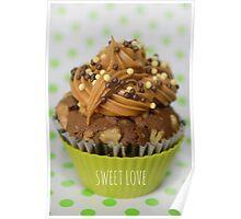 Sweet green love cupcake Poster