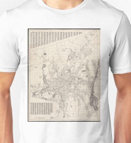 Vintage Map of Worcester Massachusetts (1919) Unisex T-Shirt